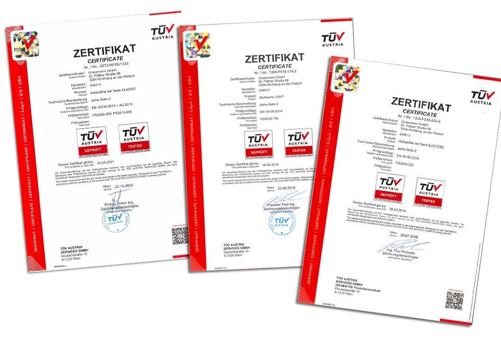 TÜV Zertifikat für Grassmann Sessel